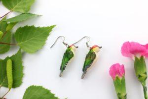 Dzięcioł-zielony-kolczyki